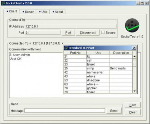 socket test TCP UDP terminal tool screen